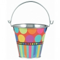 Rainbow Coloured Dots &amp; Stripes Pail Table Decoration (1)